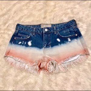 Free People bleach did dyed distressed jean shorts